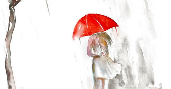 Watercolor painting rain, red umbrella romantic giclee art painting print on Etsy,