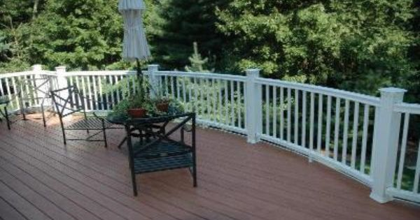 Redwood composite deck with white railings fun in the for Redwood deck plans