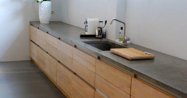 Houten keuken met gietvloer - Kitchen freak  Pinterest - Opslag ...