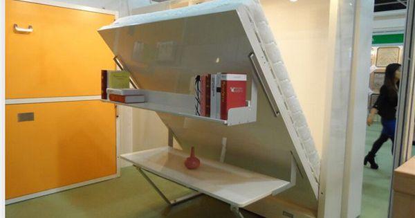 glatte wei e murphy schrankbett raumersparnis modernes klappbett mit b cherregal pinteres. Black Bedroom Furniture Sets. Home Design Ideas