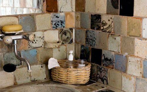 Handmade tiles in a rustic bathroom :)