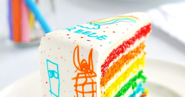 Arty Rainbow Cake artyparty birthdaycake kidsparty