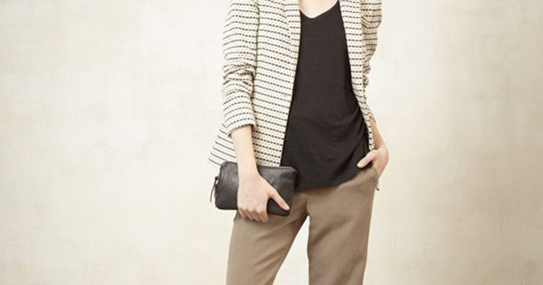 taupe pants, black top, taupe and white jacket; honey kennedy steven alan