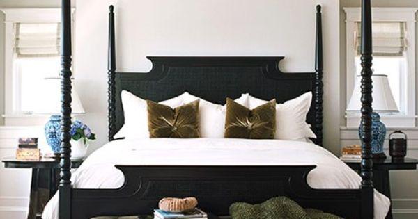 Black canopy bed frame white bedding traditional bedroom design