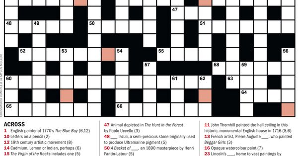The Artists Illustrators Art Crossword Complete Our Crossword