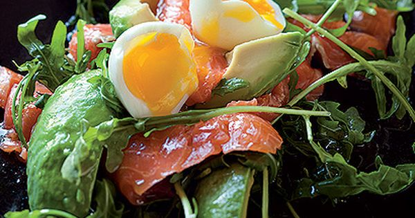Salmon and avocado salad with soft-boiled eggs ...