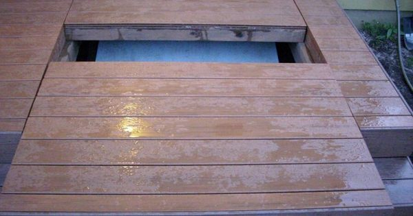 Basement Access Stair Doors Hidden Under Removable Deck