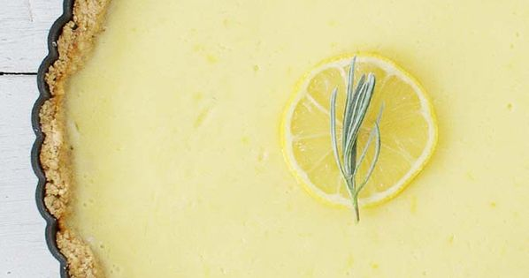 Creamy Lemon Tart with Rosemary Crust - Uses spelt crust & Greek