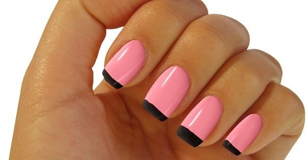 Pink nails with Black french tips- gorg.