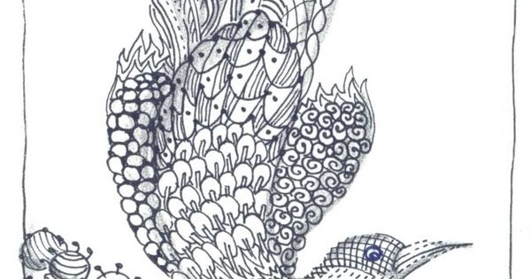 Abstract Bird Coloring Pages : Peggy turchette birds day thirty another zentangle