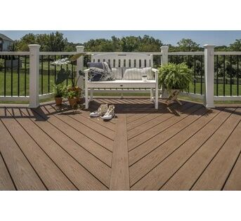 Trex Enhance Basics 12 Ft Saddle Grooved Composite Deck Board Lowes Com In 2020 Trex Deck Designs Composite Decking Trex Enhance