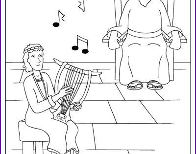 Coloring David Plays For King Saul