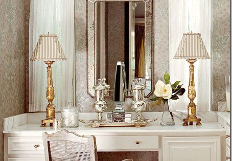 Dressing tables and washstands take stress off of bathroom for Skinny dressing table