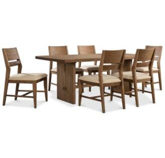 Athena 7 Pc Dining Set Dining Trestle Table 6 Side Chairs Macys Com Side Chairs Furniture Luxury Office Chairs