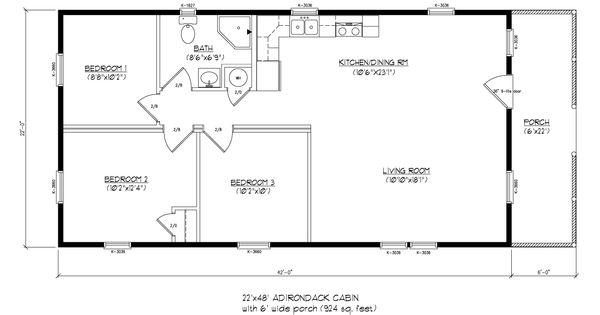 22x48 adirondack cabin wood tex modular cabin floor for Adirondack floor plans