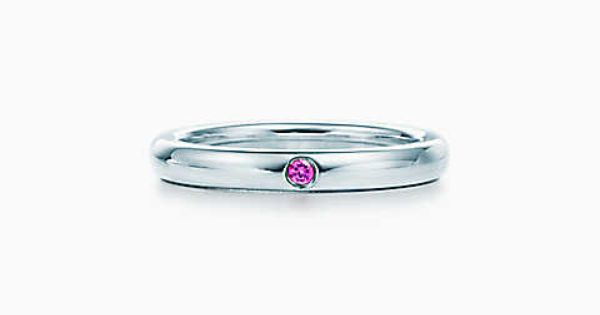 Elsa Peretti® band ring with a pink sapphire in sterling silver.