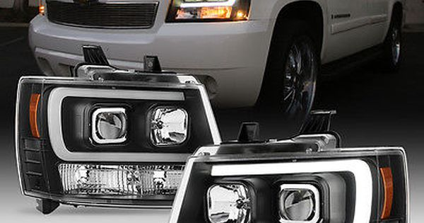 Details About Blk 2007 2014 Chevy Suburban Tahoe Avalanche Optic Drl Led Projector Headlights Chevy Suburban Chevy 2014 Chevy