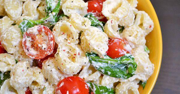 With ricotta and garlic - sounds soooo tasty! roasted garlic pasta salad