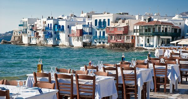 "Dinner by the sea in Mykonos, Cyclade Islands, Greece. ""Little Venice"""