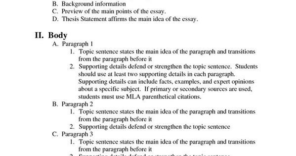essay outline format