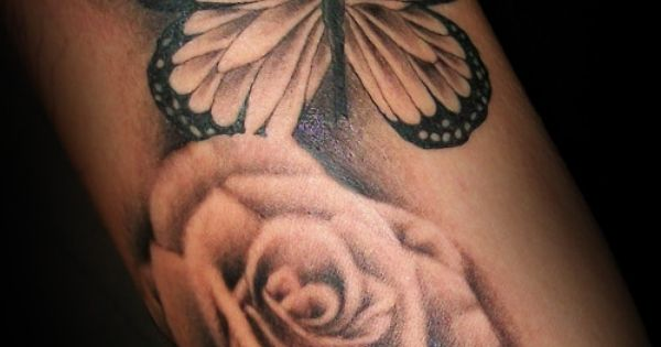 black and white flowers and butterfly tatoos for girls | home flower