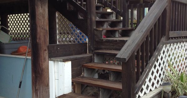 Newly Stained Deck Stairs We Like Twp Quot Dark Oak Quot Diy