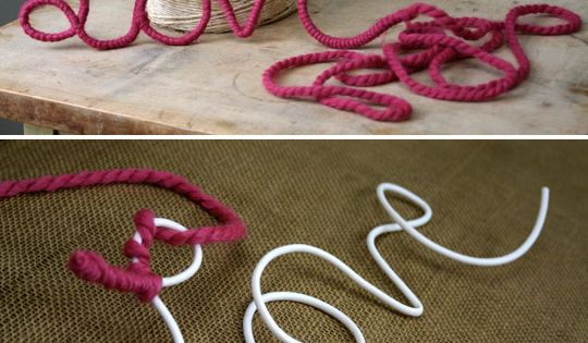 Old wire hangers and yarn. Looks pretty simple for some of our