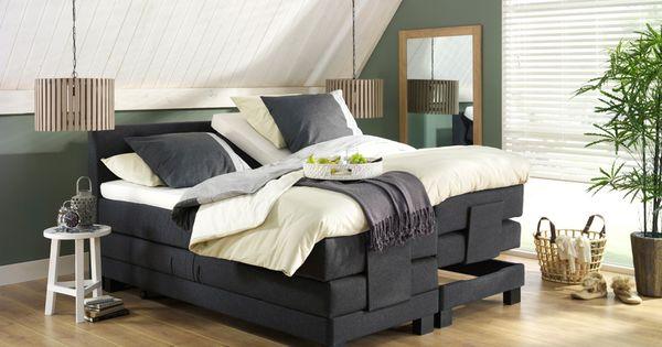 Boxspring trondheim en hanglamp duco een modern bed in een stoere interieur inspiratie - Grijze hoofdslaapkamer ...