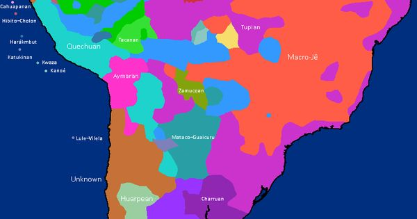 Distribution of language families in Pre-Columbian South America.