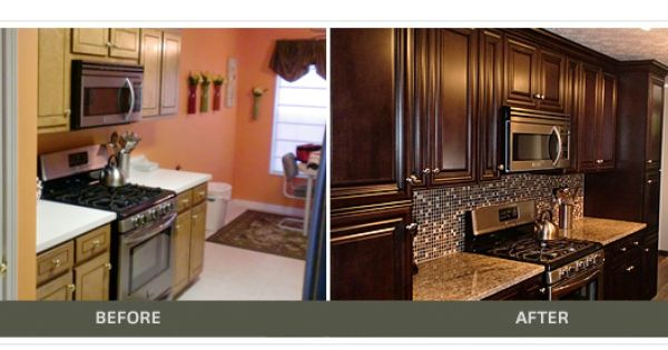 Espresso raised panel cabinets and stainless steel for Chocolate kitchen cabinets with stainless steel appliances