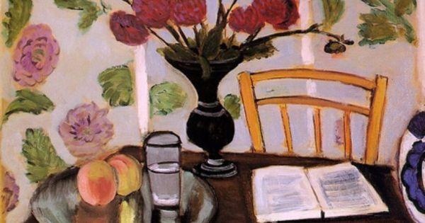 Bouquet Of Dahlias And White Book Henri Matisse Matisse Art