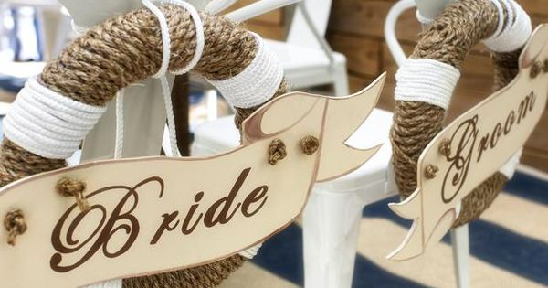 Love these! Beach theme wedding chairs for bride and groom