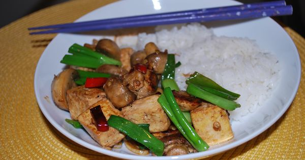 Stir Fried Tofu and Mushrooms with Green onions. Original recipe is ...
