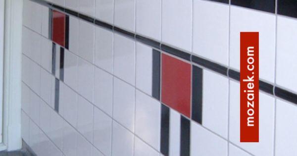 Zwart wit rode tegellambrisering jaren 30 jaren 20 jaren 30 woning tegels - Rode mozaiek tegel ...