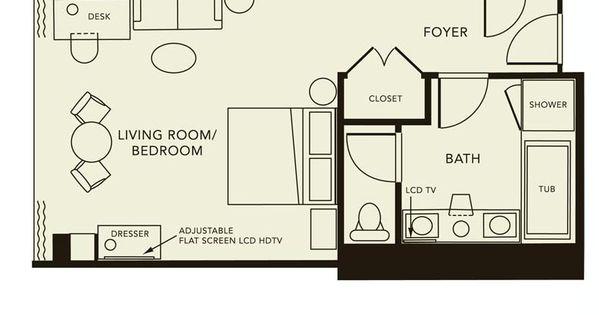 Typical hotel room floor plan click here for the resort for 1200 post oak floor plans