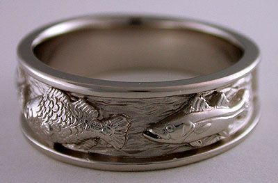 Triple Fish Wedding Bands Hunting Wedding Rings Fishing Wedding 14k White Gold Engagement Rings