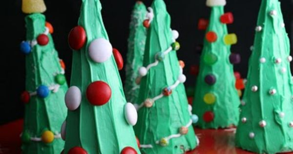 Ice Cream Cone Christmas Trees - fun easy thing for kids to