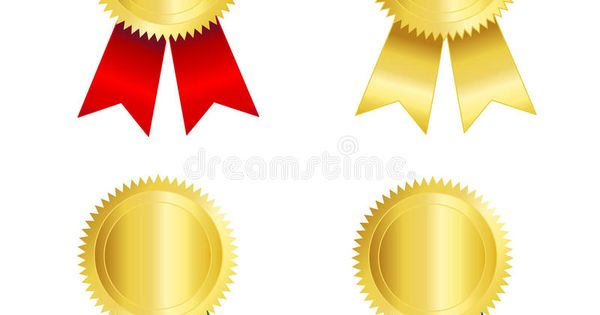 Gold Seal With Ribbon Isolated Illustration Of A Gold Seal And Red Blue Gree Affiliate Gold Illustra Wedding Vector Graphics Photo Gold Illustration