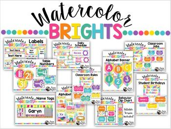 Watercolor Brights Classroom Decor Bundle Preschool Classroom