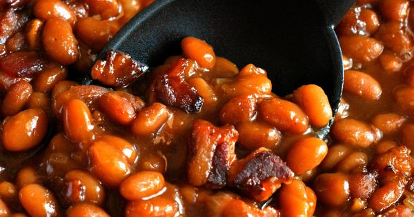 Grandma S Baked Beans Are Seasoned With Bacon Brown Sugar Molasses And Ketchup To Create This
