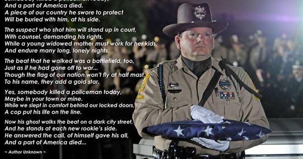 A Part of America Died poem www.HeroesBehindTheBadge.com ...