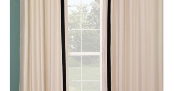 Ivory Curtain Panel With Black Stripe Border For The