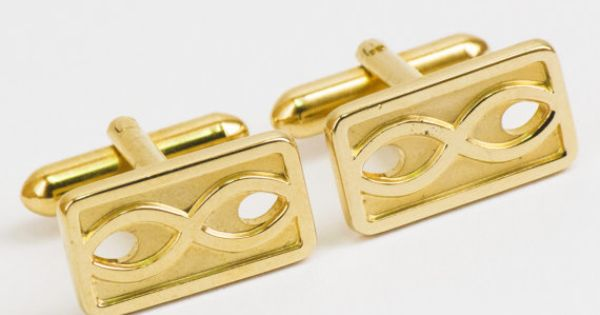 Vintage Cufflinks Infinity Symbol on Gold Tone by CuffsandClips, $18.60