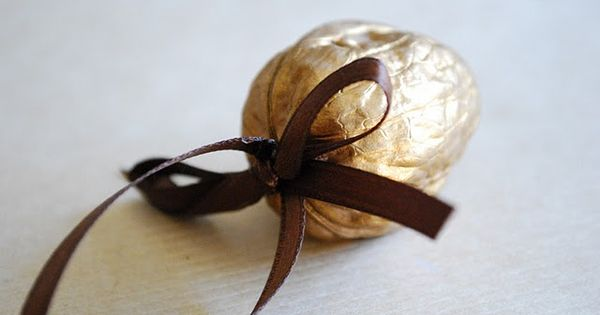 MirandaMade: Gilded Walnut Ornament