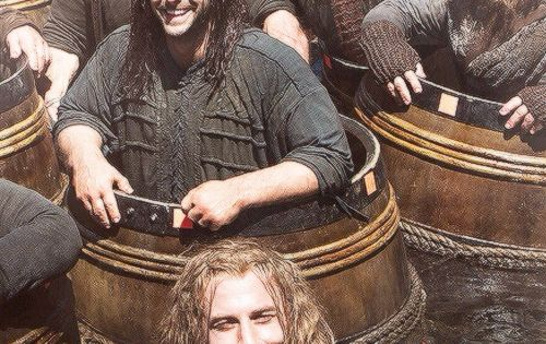 "Hobbit Cast behind the scenes of ""The Barrel Scene"". I will never"