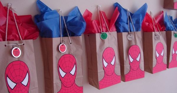 Spiderman Birthday Party 8x11 and 11x15in Spiderman  Personalized Party Favor Bags Spiderman Birthday Paty Spiderman Party Favors