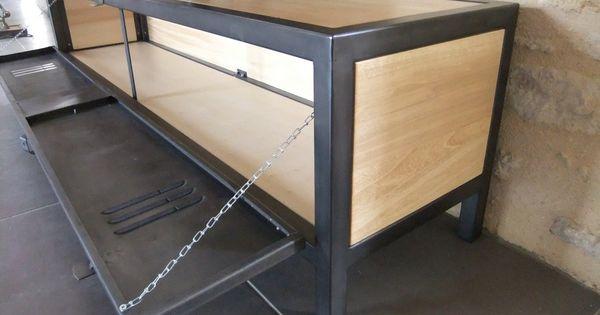 meuble tv industriel en acier bois et porte de vestiaire heure cr ation id es meubles. Black Bedroom Furniture Sets. Home Design Ideas