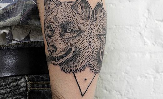 Black tattoo / ink double wolf by valentin hirsch