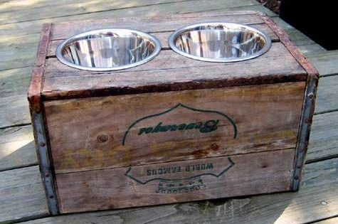 Dog feeder out of old wine crate!!! Great idea!