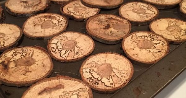 How to cut wooden disc wood slices christmas decorations for How to cut wood slices